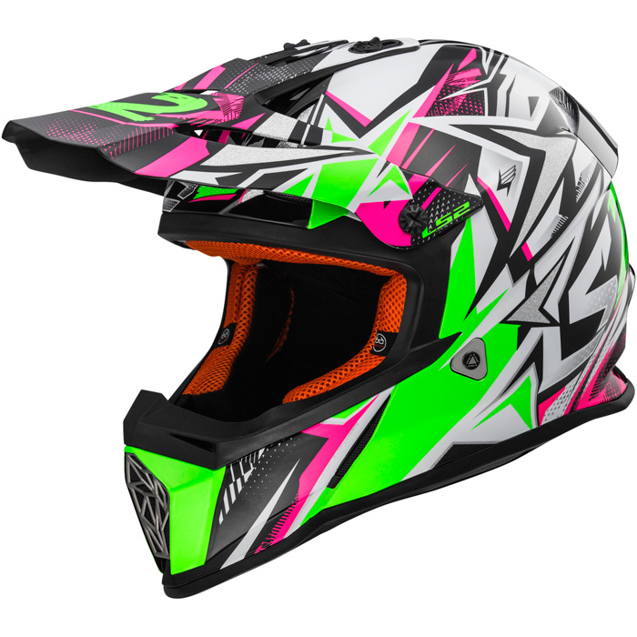 2017 LS2 YOUTH Fast MX437 Helmet Strong White/Green/Pink